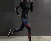 Women Pink Blue Blurred Lines Sexy Compression Legging and Hooded Jacket Set
