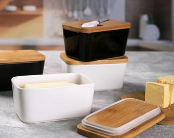 ceramic butter dish with oak lid | butter container | butter box | serving butter dish