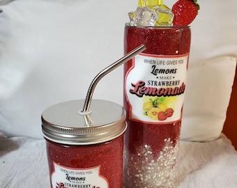 Strawberry Lemonade Tumbler & Mason Jar