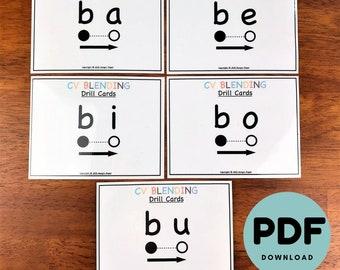 Consonant Vowel CV Blending Drill Cards [PDF Digital Download]