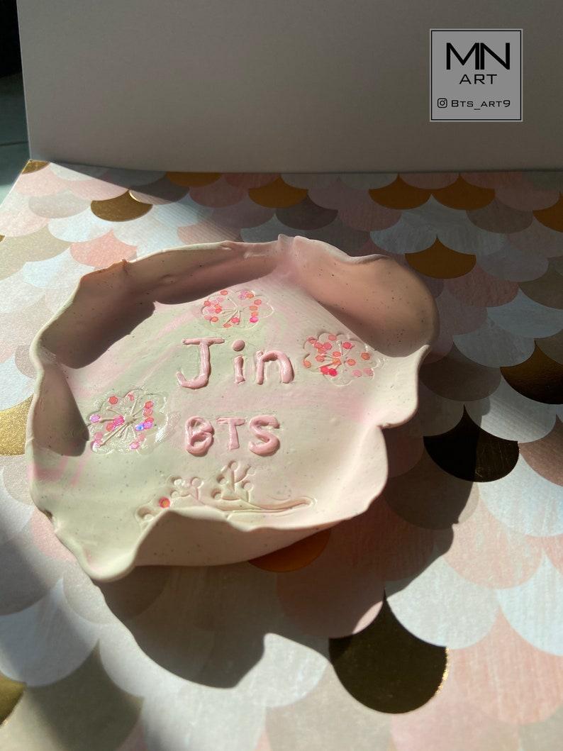 BTS JIN trinket dish handmade polymer clay jewelry dish bts army gift seok Jin BTS trinket tray ring bowl unique ring holder