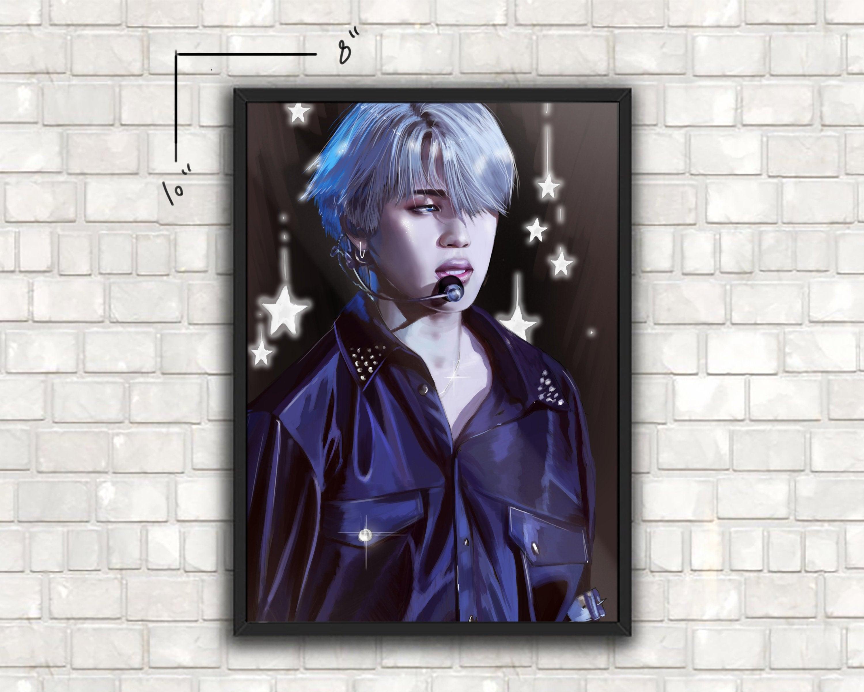 BTS JIMIN Fake love art print   BTS Jimin fanart print   Kpop Jimin art  print   Jimin framed print options, Christmas gift