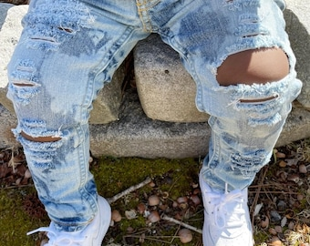 Ripped and Distressed Bleached and Dyed Jeans