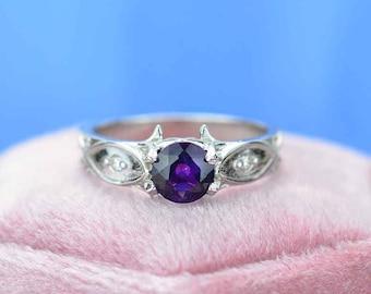 Amethyst Celtic Wedding Ring Set Trinity Braided Celtic Round Purple Amethyst Engagement Band 925 Sterling Silver 2PC Ring Set