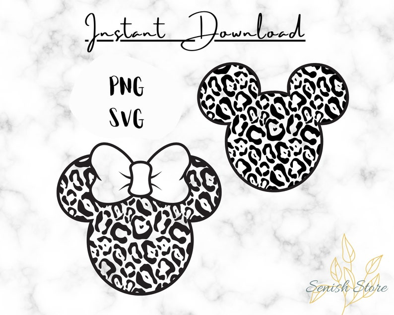 Print for Shirt Mickey /& Minnie Mouse Cheetah Leopard Svg and Png Cricut Cutting File Disney Animal Print Svg Minnie and Mickey Head