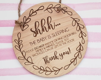 Shhh...Baby is Sleeping   It's nap time, Barking Dog   Don't ring doorbell   Don't knock   Front door sign
