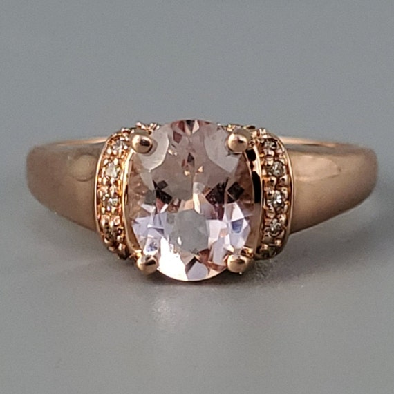 Vintage Morganite Diamond Rose Gold Solitaire Rin… - image 2