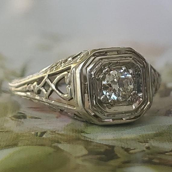 Edwardian Diamond Solitaire Engagement 14K Gold R… - image 9