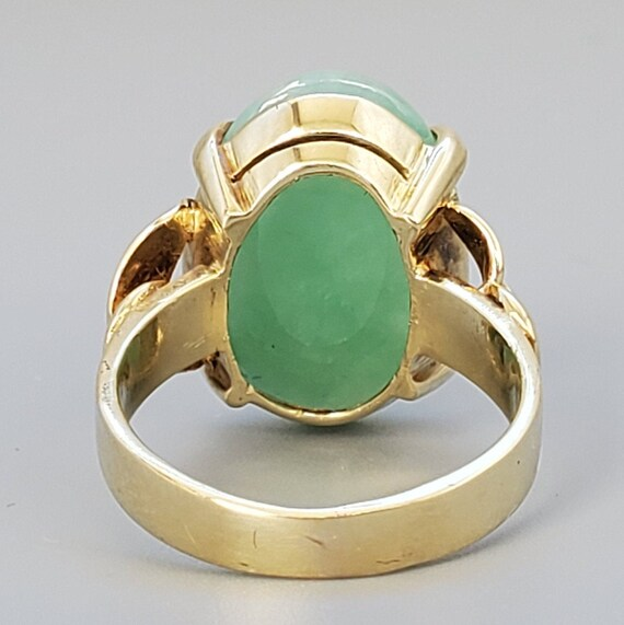 Cabochon Jade 14K Gold Vintage Solitaire Ring - N… - image 5