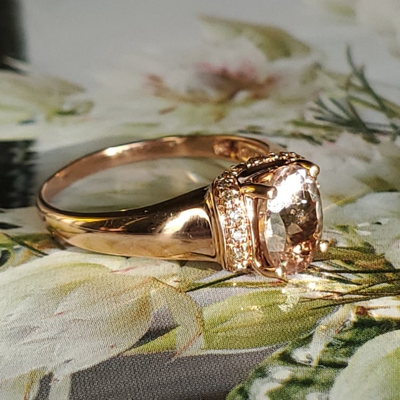 Vintage Morganite Diamond Rose Gold Solitaire Rin… - image 8
