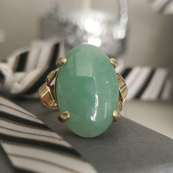 Cabochon Jade 14K Gold Vintage Solitaire Ring - N… - image 7