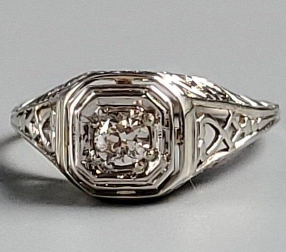 Edwardian Diamond Solitaire Engagement 14K Gold R… - image 2