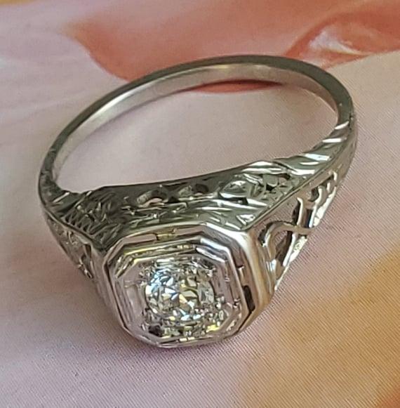 Edwardian Diamond Solitaire Engagement 14K Gold R… - image 10