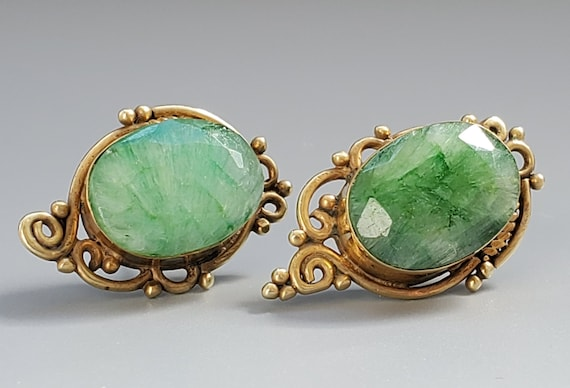 Stunning Vintage Natural Emerald Filigree Earrings