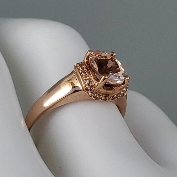 Vintage Morganite Diamond Rose Gold Solitaire Rin… - image 3