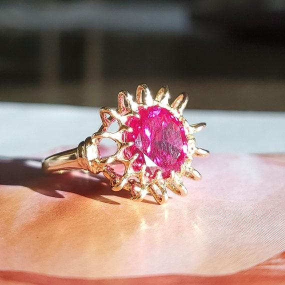 Vintage 4.45ct Ruby Solitaire 10K Gold Ring - Est… - image 10
