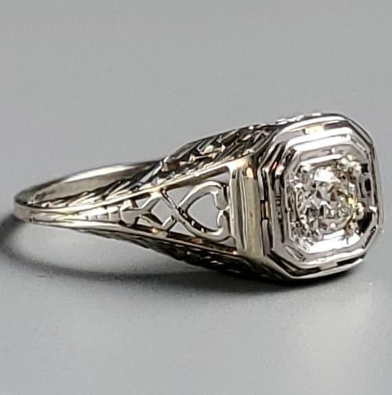 Edwardian Diamond Solitaire Engagement 14K Gold R… - image 3