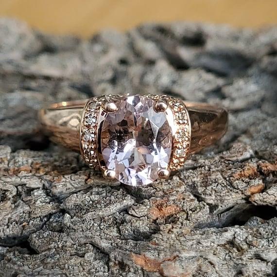 Vintage Morganite Diamond Rose Gold Solitaire Rin… - image 10