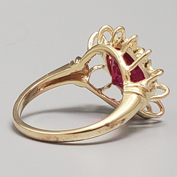 Vintage 4.45ct Ruby Solitaire 10K Gold Ring - Est… - image 6
