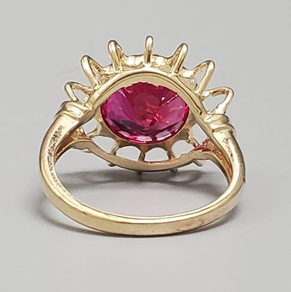 Vintage 4.45ct Ruby Solitaire 10K Gold Ring - Est… - image 5