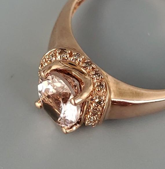 Vintage Morganite Diamond Rose Gold Solitaire Rin… - image 6