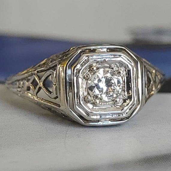Edwardian Diamond Solitaire Engagement 14K Gold R… - image 1
