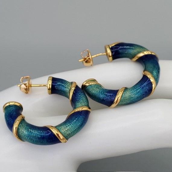 Estate Guilloche Enamel 14K Gold Hoop Earrings - V