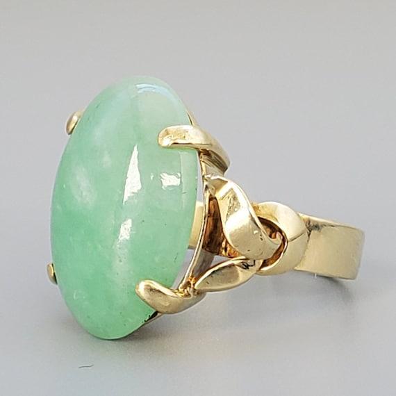 Cabochon Jade 14K Gold Vintage Solitaire Ring - N… - image 1