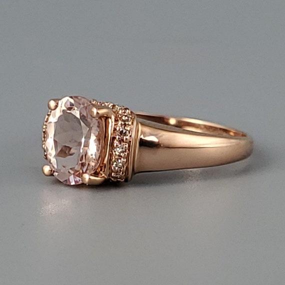 Vintage Morganite Diamond Rose Gold Solitaire Rin… - image 4