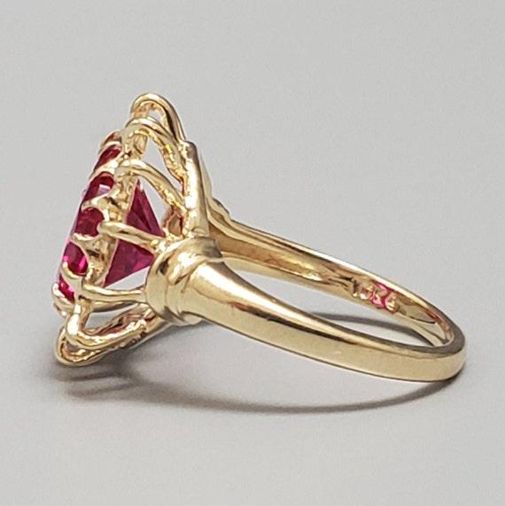 Vintage 4.45ct Ruby Solitaire 10K Gold Ring - Est… - image 3