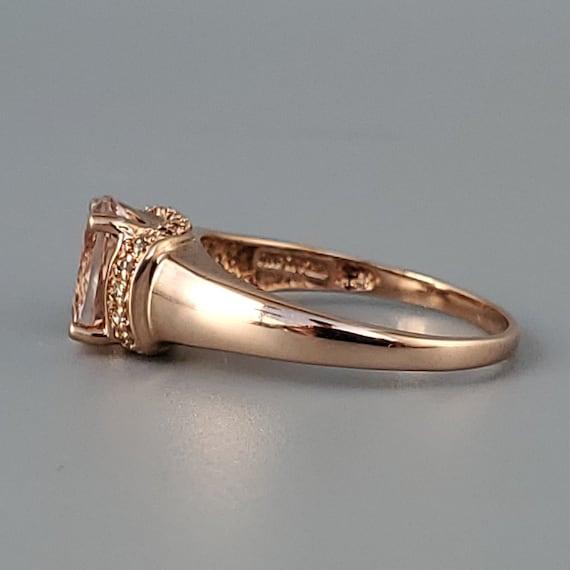 Vintage Morganite Diamond Rose Gold Solitaire Rin… - image 5