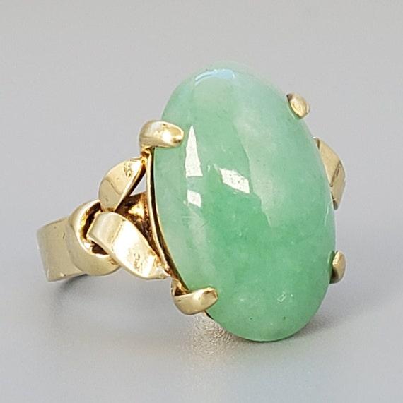 Cabochon Jade 14K Gold Vintage Solitaire Ring - N… - image 2