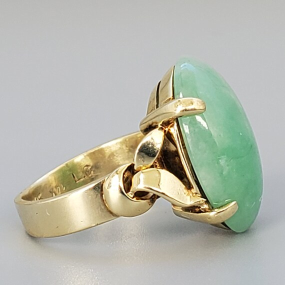Cabochon Jade 14K Gold Vintage Solitaire Ring - N… - image 3