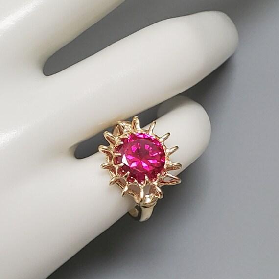 Vintage 4.45ct Ruby Solitaire 10K Gold Ring - Est… - image 7