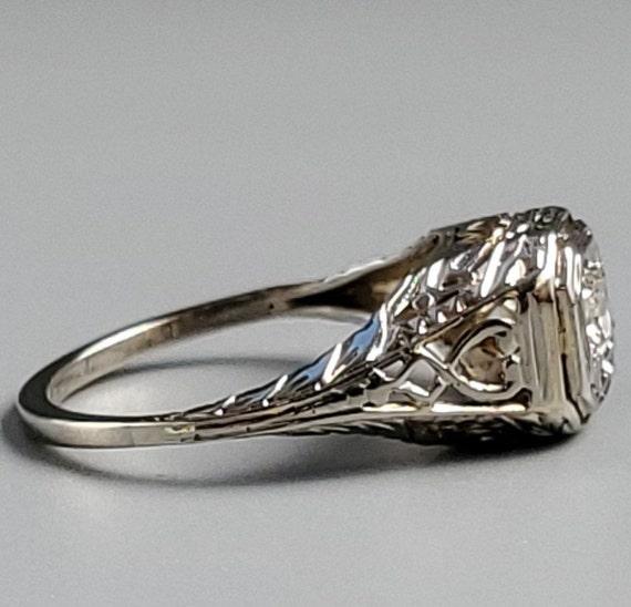 Edwardian Diamond Solitaire Engagement 14K Gold R… - image 4