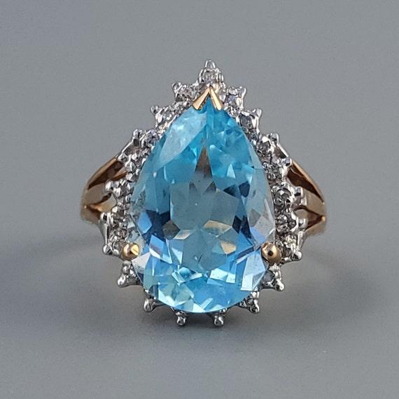 Vintage Aquamarine Diamond Halo Gold Ring - Estate