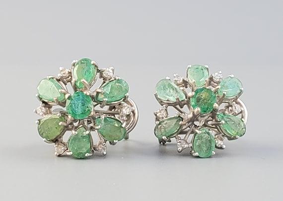 Art Deco Diamond & Emerald Palladium Earrings - Fi