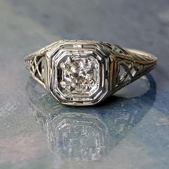 Edwardian Diamond Solitaire Engagement 14K Gold R… - image 8