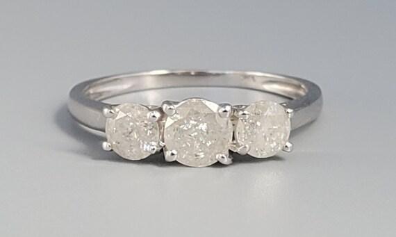Vintage Three Stone Salt and Pepper Diamond Ring -