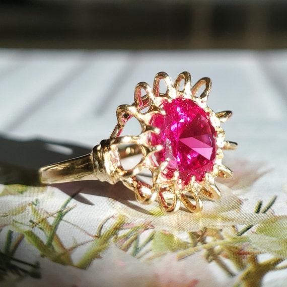 Vintage 4.45ct Ruby Solitaire 10K Gold Ring - Est… - image 9
