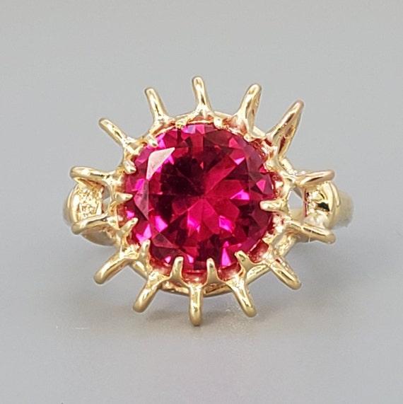 Vintage 4.45ct Ruby Solitaire 10K Gold Ring - Est… - image 1
