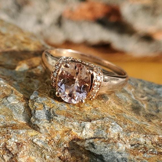 Vintage Morganite Diamond Rose Gold Solitaire Rin… - image 9
