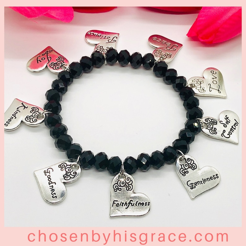 Fruit of The Spirit Heart Charm Bracelet Bracelets For Women Black Beaded Stretch Bracelet Mother/'s Day Gifts