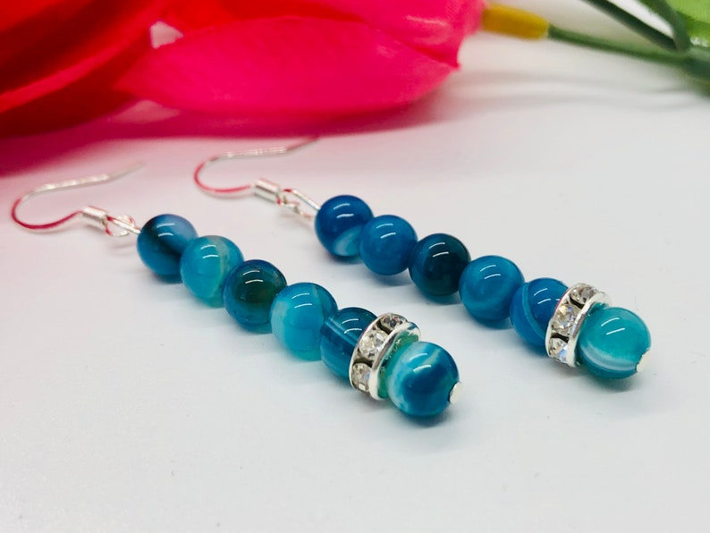 Mother/'s Day Gifts Nickel Free Blue Agate Semi Precious Beaded Drop Dangle Earrings For Women