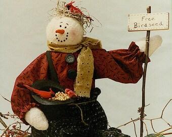 Bonnie B Buttons Wintertime Friends Snowman Doll #1596 Pattern Instant Download Digital Booklet Folk Art Doll