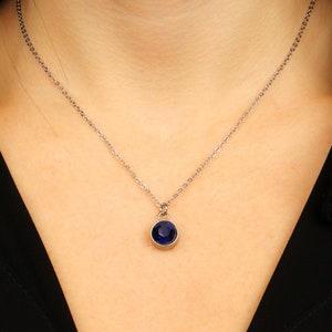 royal blue necklace shield necklace September birthstone birthstone jewelry September birthday blue stone necklace birthstone necklace
