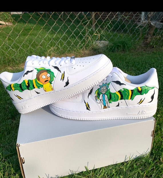 Rick and Morty Custom Air Force 1 | Custom shoes Rick and Morty | Portal Rick and Morty AF1s | Middle Finger Rick and Four Finger Rick