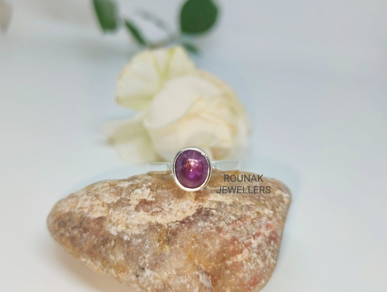 July Birthstone Ring. Gemstone Ring Oval Star Ruby Silver Ring Natural Star Ruby Ring Sterling Silver Ring