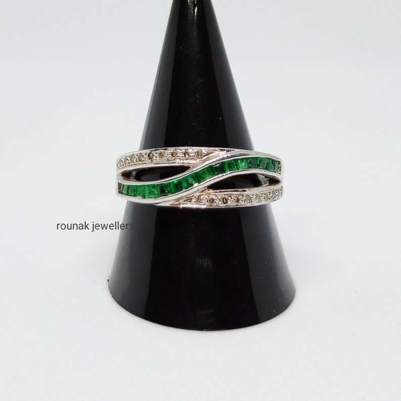 Emerald Diamond Ring,Natural Silver Ring,Handmade Ring,925 Sterling Silver,Square Cut Ring,Ring For Her,Wedding Ring,Designer Ring.