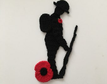 remembrance soldier and poppy crochet applique Pattern